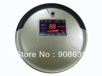 2013 HOT Selling Robot Vacuum Cleaner with Golden Color ,Big LCD Screen ,Li-ion Battery , Vacuum And Mop ,1L Rubblish Box