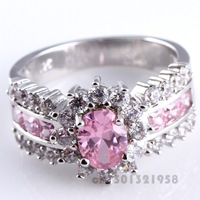 NEW OVAL & PRINCESS CUT PINK & WHITE TOPAZ  SILVER RING SIZE 10 R1-00419