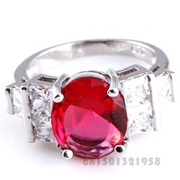 NEW OVAL CUT RUBY SPINEL & WHITE TOPAZ  SILVER RING 7 R1-00459