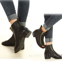 NEW  Sale OL Fish Head Side Zipper Boots Flat Heel Shoes GSH-00431