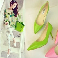 Classic pointed toe high heeled shallow mouth ol elegant fashion vintage pink single shoes