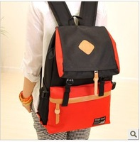 Free Shipping 2013 New Fashion oxford fabric spell color dual backpack unisex schoolbag travel backpack