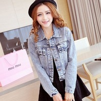 Free Shipping 2013 spring denim top vintage short design loose denim outerwear jacket female mlsd9163