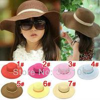 Child girls straw hat / beach hat / children hat / sun hat,5pcs/lot  very nice can choose color