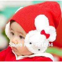 Free Shipping 2013 NEW Han Edition Baby Rabbit Ear Muff Hat Children Cartoon Big Bowknot Rabbit Children's Hat