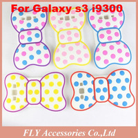 100pcs/lot Fast shipping Wholesale Cute 3D point  Bowknot Dot Back Protector Case for Samsung I9300 Galaxy S3 DHL EMS FedEx