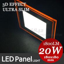 3D Effect! Orange shape + warm white cool white square led panel light 20W downlight panel lamps 180mm 18cm,220v(China (Mainland))