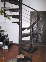 Easy to install Rotating steel-wood stair wood stainless steel wiredrawing glass enclosure  spiral staircase