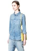 TC] Женская одежда синего цвета осень - лето женщин блузки градиента женщин длинные джинсовые рубашки женщин продажи