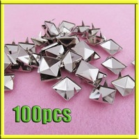 100x 12mm Pyramid Studs Spots Punk Rock Biker Nailhead Leather Spikes Bag Shoes[99089]