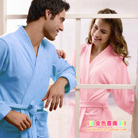 2013 summer bathrobe lovers 100% toweled cotton bath towel male women's solid color robe long-sleeve lounge short-sleeve