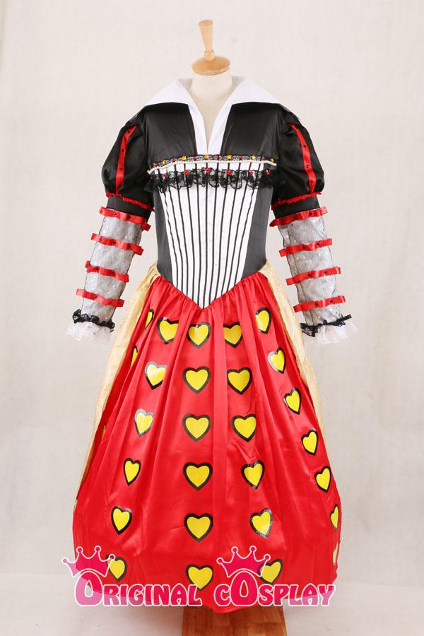alice in wonderland cosplay red queen of hearts dress lady costume halloween custom made plus size halloween costume