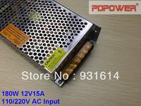 12V 15A 180W AC to DC switching power supply, single output, CE/RoHS/FCC/IEC & 2-year warranty