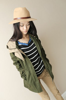 2013 autumn fashion slim hooded medium-long trench women's casual outerwear female