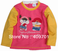 2013 New Arrival Hotsale Nova Kids Brand FREE SHIPPING F425# Girls long sleeve T-shirt with embroidery Wholesale,2013 New Hot