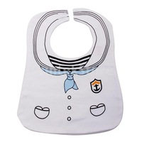 Free Shipping White Cute Sailor Uniform Baby Bib Feeding Bib