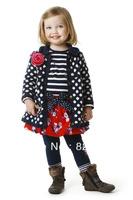 2013 new brand catimini children autumn and winter girls outerwear coat long dots fashion flower collar wool blend 3T-8T