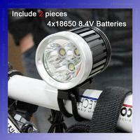 [ Include 2 Batteries ] 4500-Lumen 3T6 LED High Power Bicycle Light 3*Cree XM-L T6 4-Mode LED bike light Kit