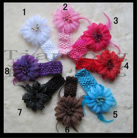 Free shipping (8 pieces/lot) Baby headband rose flower with feather and Crochet headband fabric flower hair headband ribbon