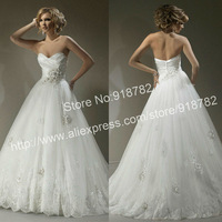 Best Selling Cheap New Design Fashion Sweetheart Appliques Ball Gown White Wedding Dresses 2013 Free Shipping