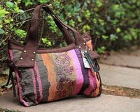 Vintage patchwork leather buckle decorative pattern casual mix match Women one shoulder cloth handbag