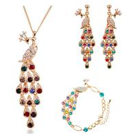 Fashion plated austrian crystal Colorful peacocks women pendant necklace/earrings/bracelet bride wedding Jewelry Sets