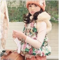 2013 top quality girls vest Children's clothes child rabbit fur thermal vest wholesale baby vest waistcoat children with flowers