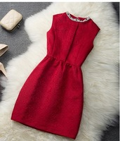 Free Shipping Hot Sale High Quality Retro Star Style Rhinestone Decorated Sleeveless Pure Color Dress Red /White