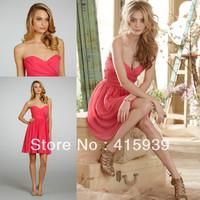Free shipping coral a line sweetheart chiffon short bridesmaid dresses brides maid dresses cheap BN040