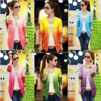 Tops ! 2013 Women Lace Sweet Candy Color Crochet Knit Top Thin Blouse Women Sweater Cardigan  QC1027