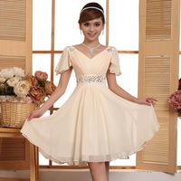 short bride  princess sleeve graduation dresses short evening dress 2015 new arrival