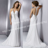 Free Shipping Custom Made Fashion Halter Chiffon Beaded A Line Wedding Gowns White Beach Sexy Backless Wedding Dresses 2013
