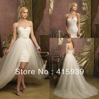 Free Shipping sheath sweetheart tulle beade detachable train wedding dress HS105