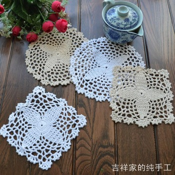 Free shipping IKEA flowers design felt round or square lace swastika as kitchen accessories for tableware tea pot holder coaster