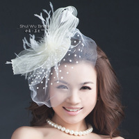 Wedding Bridal Hair Accessory White Vintage Feather Accessories Wedding Hair Accessory Gauze Fedoras Free Shipping
