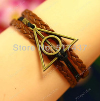 Free Shipping 6 Pcs  Deathly Hallows harry potter Bracelet antique bronze imitation leather Bracelet