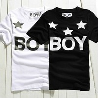 Male BOY LONDON T-shirt short sleeve 2013 summer fashion boy tees o-neck black color tops star printed new arrival shirt #37