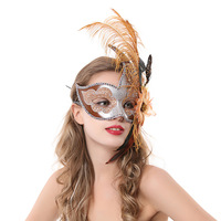 Masquerade feather mask princess flame flower half face mask princess ball