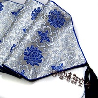 Free Shipping Chinese style silk brocade fashion table runner bed flag blue and white porcelain rich flowers