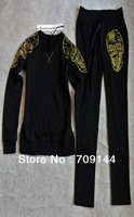 Free Shipping 2013 New Fashion Embroidered Skull Pattern Cotton Pullover Leisure/Sport  Suit For Women/Track Suit/S M L /3Color