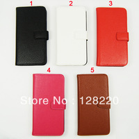 DHL Free Shipping Hot Items Litchi Grain Wallet Leather Case for HTC One M7 with Stand + 2 Card Holders