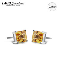 New! T400 Brand Jewelry,made with Natural Citrine stud earrings,for women,925 sterling silver,Square shape#8247,free shipping