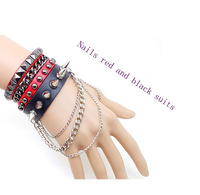 Han edition non-mainstream multi-level rivet punk package mail man street dance leather bracelet with men's gift set