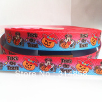 "Free shipping 7/8""  minne treat or trick grosgrain ribbon, 50yards fabric tape"