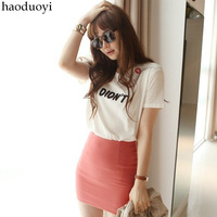 Haoduoyi lips t-shirt small fashion i didn rsquo . t letter short-sleeve T-shirt 6 full