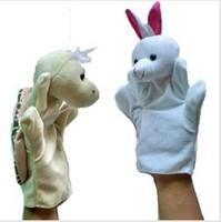 10pcs/lot,Hand Puppet  fairy tale - The tortoise and the hare,Plush hand puppets, stuffed hand puppets, 2pcs/poly bag)