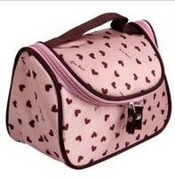 Free shipping Korea Cute Double Zipper Dot Cosmetic Box Makeup Bag Coin Pouch hot sales