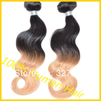 Hot sale 1b//27# ombre hair color three 2 tone color body wave ombre brazilian hair weave 3pcs/lot or 2pcs/lot free shipping