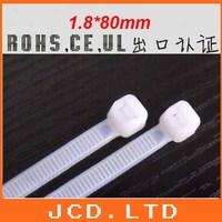 White Plastic Nylon Cable Zip Ties Tie Wraps 1.8*80mm Super Slim
