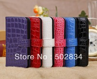10pcs/lot   Croco style  Leather Case Cover Card Slot Wallet Pouch for iphone 5C